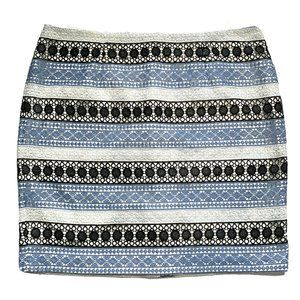 Talbots Striped Blue Ivory Lace Overlay Pencil Skirt Size 18W Petite